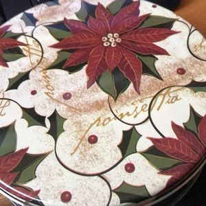 Other - Poinsettia tin box filled with vintage buttons